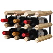 Rack 9 Garrafas Vinho Madeira Cedrinho Suporte Vinhoteca