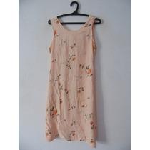 Vestido Creme Florido Tubinho Cód. 1095