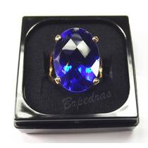 Anel C/ Pedra Grande Cristal Color Safira Azul B/ Ouro