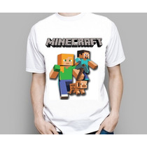 Camiseta Infantil Algodão Game Minecraft Steve Enderman
