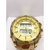 Relógio Masculino Original Atlantis Dourado Ponteiro Digital