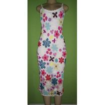 Vestido Croche Importado Estampa Floral Tamanho M