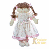 Boneca De Pano Artesanal Berço Menina Rosinha Bebê Infantil