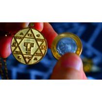 Medalhão Hexagrama De Salomão Goetia Ouro Consagrado - Anael