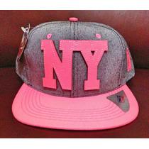 Boné Aba Reta Rosa Ny New York Snapback Frete Gratis
