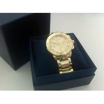 Relógio Feminino Dourado Luxo Geneva