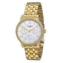 Relógio Mondaine Dourado Calendário Multifunção 83175lpmgds1