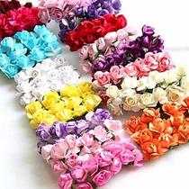 144 Mini Rosas Flores Rosinhas Artificiais Cetim