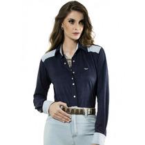Camisete Com Detalhes Em Jeans Claro Principessa Anitta