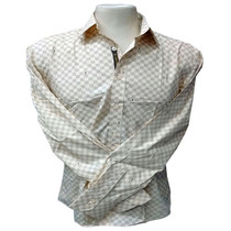 Camisa Social Masculina Louis Vuitton Quadriculada Creme