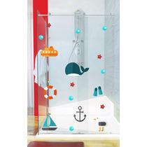 Adesivo De Parede Banheiro Box Vidro Kit Fundo Mar Bolha