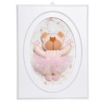 Quadrinho Decorativo Quarto Bebê Ursa Bailarina Rosa Pérolas