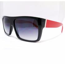 Óculos De Sol Preto E Vermelho Com Proteção Uva Uvb