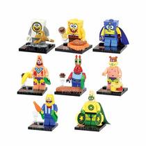 Kit C/ 8 Personagens Bob Esponja Lego Compativel Nickelodeon