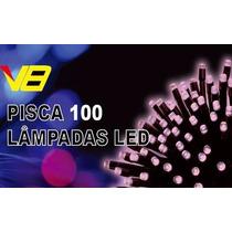 Kit Pisca 100 Lâmpadas Led 8 Funções Rosa Verde E Verm 220v