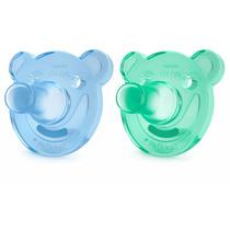 Kit Com 2 Chupetas Bear Philips Avent 0 A 3 Meses Verde Azul