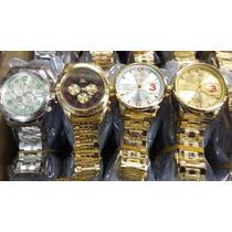 5 Relógios Masculino Dourado Kit Atacado Ideal Para Revendas