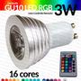 Lâmpada Dicroica Gu10 Led Rgb 3w Bivolt Controle Remoto