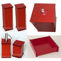 Kit Potes P/ Banheiro Em Acrílico Cereja - Personalizado