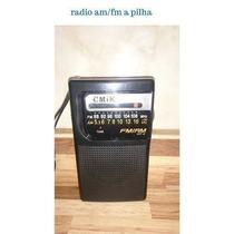 Radio Am Fm Portátil Apilha Com Antena P008