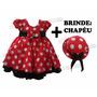 Vestido Festa Infantil Joaninha Minnie Luxo Minie + Brinde