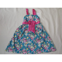 Vestido Infantil Festa/aniversario Flores Pink E Verde