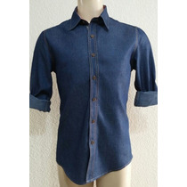 Camisa Jeans Masculina Slim Fit C/ Lycra Caimento Excelente