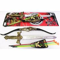 Kit Arco E Flecha Com Espada Super Bowman Game Brinquedo