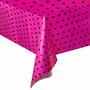 Toalha Mesa Convidados Poá - Festa Pink Bolinhas Pretas 10u