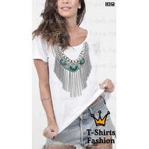 Kit 5 T-shirts Atacado Revenda Colar Fashion Femininas