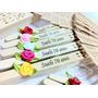 50 Leques Personalizados C/ Nome E Flor De Cetim (casamento)