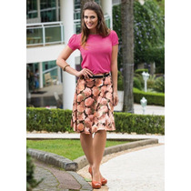 Conjunto Moda Evangelica Saia Midi Evasê Floral + Blusa