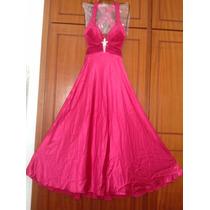 Vestido De Festa Pink Cetim Drapeado