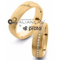 Par De Aliança Ouro 18k - 6mm/14grs - 40 Diamantes - Dc644
