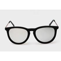 Óculos De Sol Luxo Feminino Erika Veludo Preto Espelhado