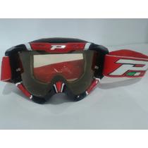 Oculos Trilha Cross Moto Progrip Vermelho/preto/branco