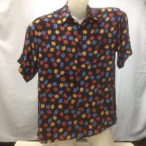 Camisa Seda Riscatto Preta Flores Azul/verm/ama G 111-215
