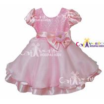 Vestido De Festa Infantil Rosa De Luxo Com Renda Com Tiara