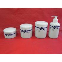 Kit Higiene Porcelana Banheiro Bebe Potes Porta Algodão 4 Pç