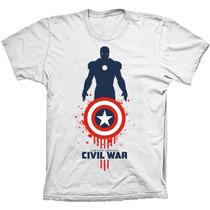 Camisa Camiseta Capitão America Rogers Civil War Guerra Civl