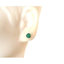 Brincos Pedra Verde Jade Natural Ouro 18k Certificado Jóias