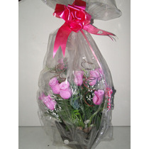 Buque Rosa I Love You Arranjo Artificial Cana India 37x60cm