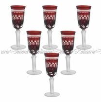 Conjunto De Taças Para Champagne Em Cristal Vermelho