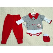 Conjunto Pagão Bebê Menino Marinheiro Vermelho Body Calça