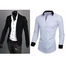 Blazer Masculino Slim Fit 8 Cores + Camisa Social Slim
