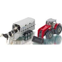 Toy Tractor Agrícola - Siku Massey Ferguson W Ifor Williams