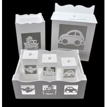 Kit Bebê Brinquedos (6 Peças) Branco Mdf Laser