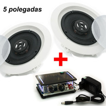Kit Som Ambiente Amplificador Pc + Caixa Acústica Para Gesso
