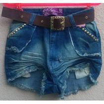 Short Jeans Feminino Hot Pants Cintura Alta Destroyer +cinto
