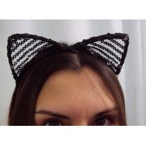 Fantasia Tiara Mulher Gato Com Tule E Paetês Pretos E Pratas